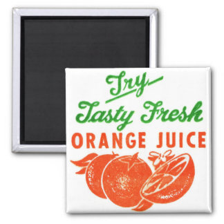 Retro Vintage Kitsch Try Tasty Fresh Orange Juice Magnet