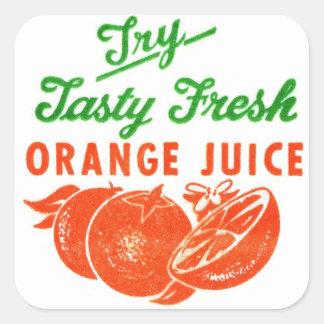 Retro Vintage Kitsch Try Tasty Fresh Orange Juice Square Sticker