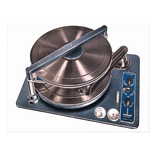 Retro Vintage Kitsch Turntable Phonograph Paillard Postcard