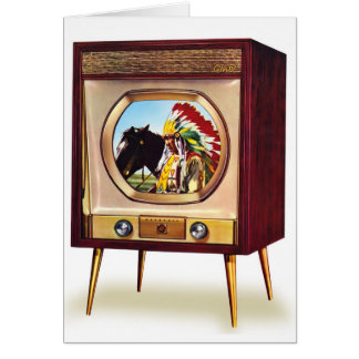 Retro Vintage Kitsch TV Color Television Set Card