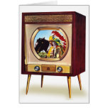 Retro Vintage Kitsch TV Colour Television Set Greeting Card