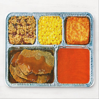Retro Vintage Kitsch TV Dinner Beef & Tomato Soup Mouse Pad