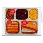 Retro Vintage Kitsch TV Dinner Now Bigger Hot Dog Greeting Card