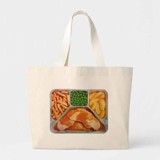 Retro Vintage Kitsch TV Dinner Pork Loin Large Tote Bag