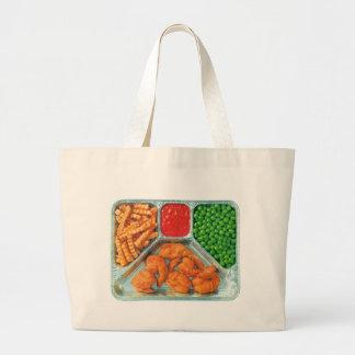 Retro Vintage Kitsch TV Dinner 'Shrimp' Large Tote Bag