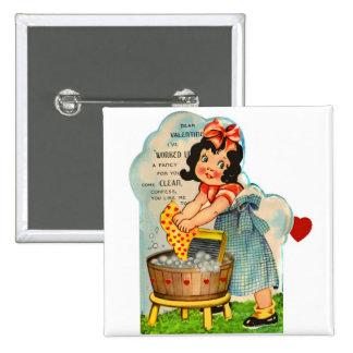 Retro Vintage Kitsch Valentine Worked Up A Fancy 2 Inch Square Button