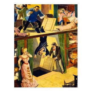 Retro Vintage Kitsch Vaudeville 'Opium Den Murder' Postcard
