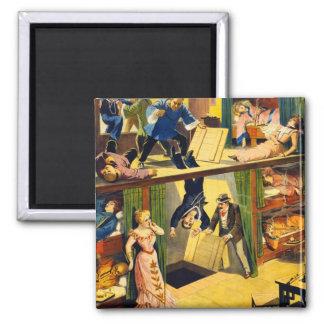 Retro Vintage Kitsch Vaudeville 'Opium Den Murder' Square Magnet