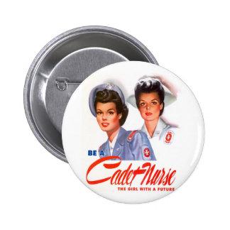 Retro Vintage Kitsch WW2 Cadet Nurse 2 Inch Round Button
