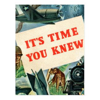 Retro Vintage Kitsch WW2 'It's Time You Knew' Fact Postcard