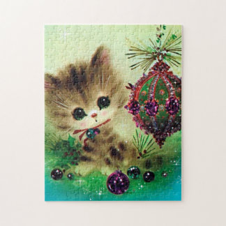 Retro Vintage Kitty Christmas Festive puzzle