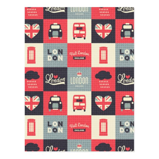 retro,vintage,London,UK,collage,twill,red,black Postcard