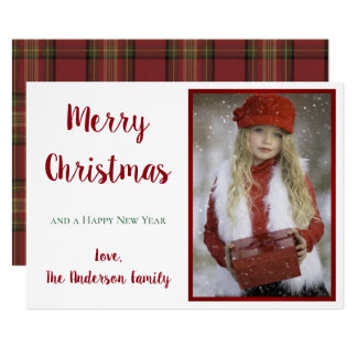 Retro Vintage Merry Christmas Red Green Card