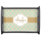 Retro Vintage Moroccan Pattern Mint Green Monogram Serving Tray