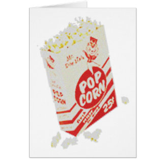 Retro Vintage Movie Theater Popcorn Greeting Card