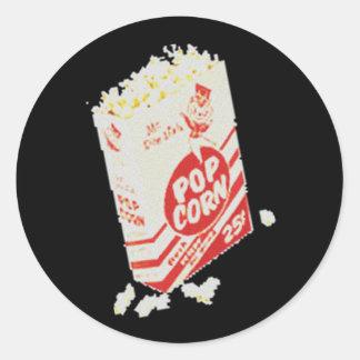 Retro Vintage Movie Theater Popcorn Round Sticker