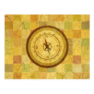 Retro Vintage Multicolored Compass Design Postcard