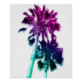 Retro Vintage Ombre Pop Art Palm Tree Print
