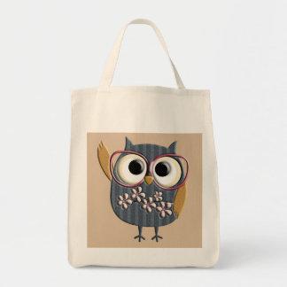 Retro Vintage Owl Grocery Tote Bag