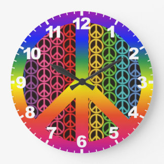 Retro Vintage Peace Sign Clock with Numbers