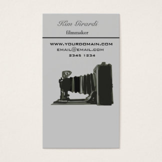 Retro Vintage Photography Filmaker Vertical Business Card