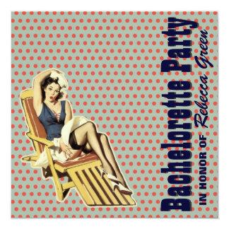 retro vintage pin up bachelorette party invitation