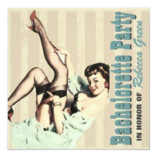 retro vintage pinup bachelorette party invitations