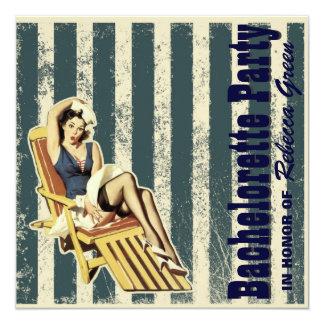 """retro vintage pinup bachelorette party invitations 5.25"""" square invitation card"""