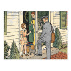 Retro Vintage Postman Book Illustration Postcard
