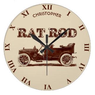 Retro Vintage Rat Rod Old School Cool Rusty Car Large Clock