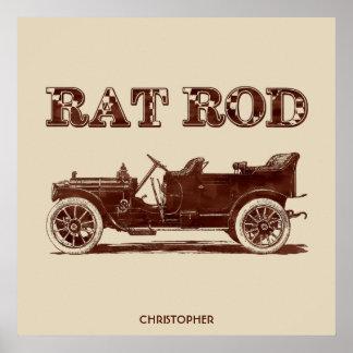 Retro Vintage Rat Rod Old School Cool Rusty Car Poster