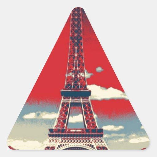 retro vintage red blue Paris Effiel Tower fashion Stickers