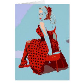Retro Vintage Rocker Lady in Polka Dot Dress Card
