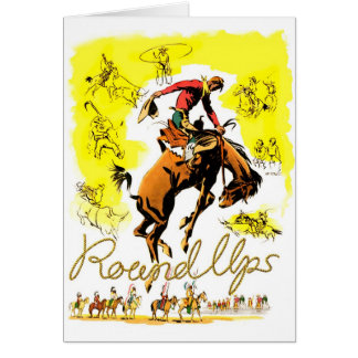 Retro Vintage Rodeo Cowboy Roundup Greeting Card