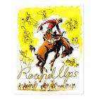 Retro Vintage Rodeo Cowboy Roundup Postcard