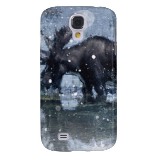 Retro vintage rustic wildlife snowy winter moose