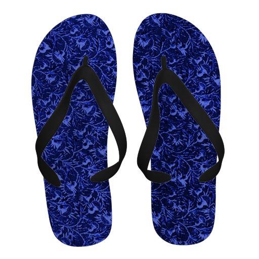 Retro Vintage Sapphire Blue Leaves Sandals