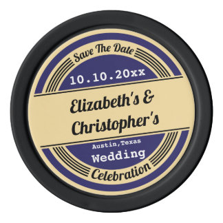 Retro Vintage Save The Date Wedding Engagement Poker Chips