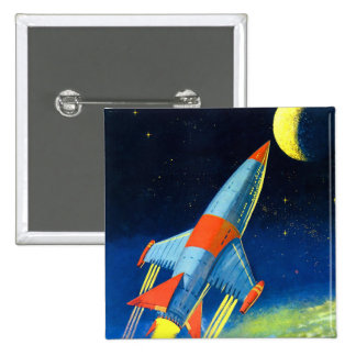 Retro Vintage Sci Fi 'Space Rocket to the Moon' 2 Inch Square Button