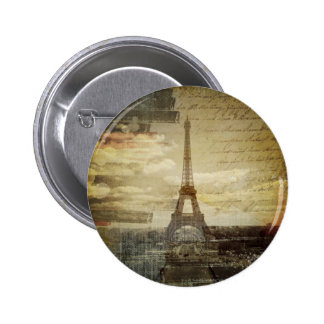 retro vintage scripts  paris Effiel Tower fashion 2 Inch Round Button