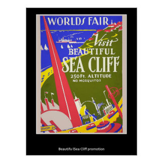 Retro Vintage Sea Cliff Poster