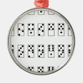 retro vintage set of dominoes Silver-Colored round ornament