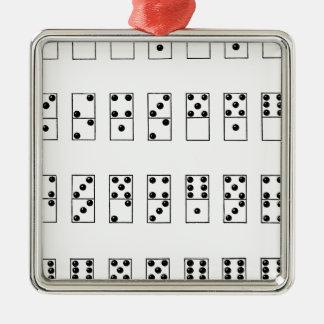 retro vintage set of dominoes Silver-Colored square ornament