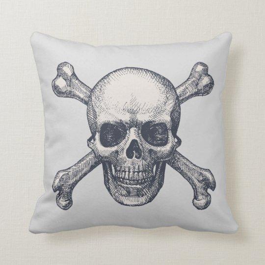 Retro Vintage Skull Crossbones Halloween Pillow