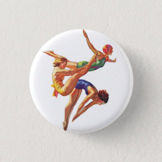 Retro Vintage Sports Diving Swimmers Diving Art 1 Inch Round Button