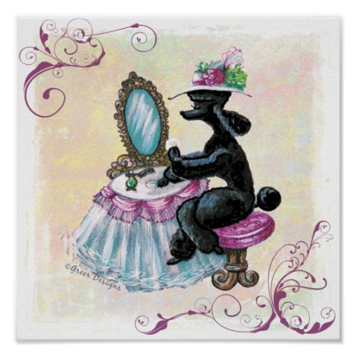 Retro vintage style black poodle boudoir print