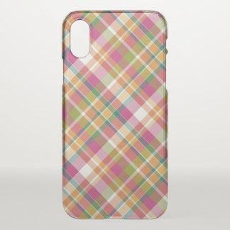 Retro Vintage Summer Plaid Tartan Squares Pattern iPhone X Case