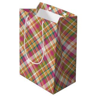 Retro Vintage Summer Plaid Tartan Squares Pattern Medium Gift Bag