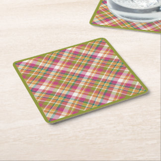 Retro Vintage Summer Plaid Tartan Squares Pattern Square Paper Coaster