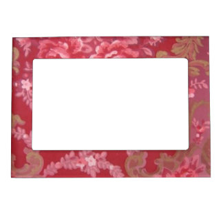 Retro Vintage Swirls Floral Roses Flowers Leaves Picture Frame Magnet